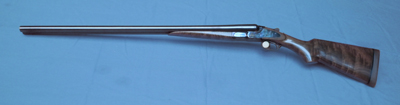 Custom made 12 gauge Baker Batavia Leader double barrel shotgun.