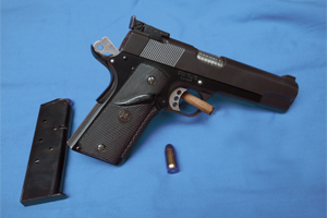Customized 1911 pistol built off of Essex Frame. All after-market custom parts fit and installed.
